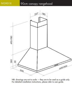 ILVE 90cm Canopy Rangehood IVG901X