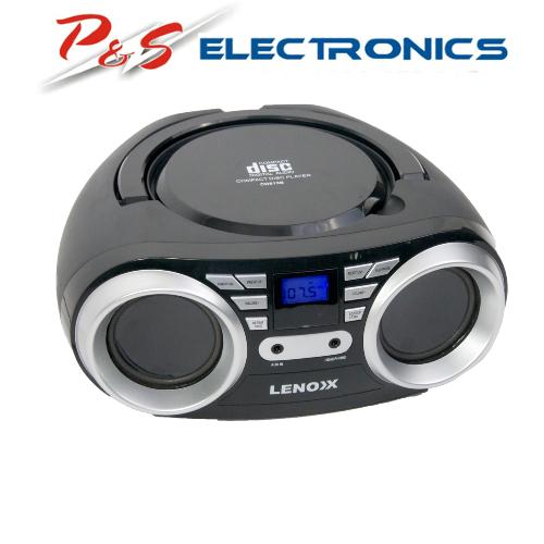 Lenoxx Black Portable Boombox CD CD-R/CD-RW Player Speaker/FM radio/Aux in 3.5mm CD813B