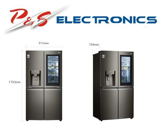 LG 706L French Door Fridge, with InstaView Door-In-Door®, in Black Stainless Finish_GF-V706BSL