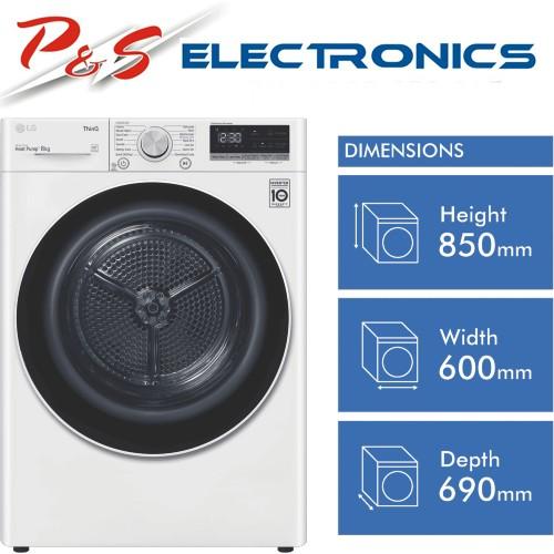 LG DVH5-08W 8kg Heat Pump Dryer with Inverter Control
